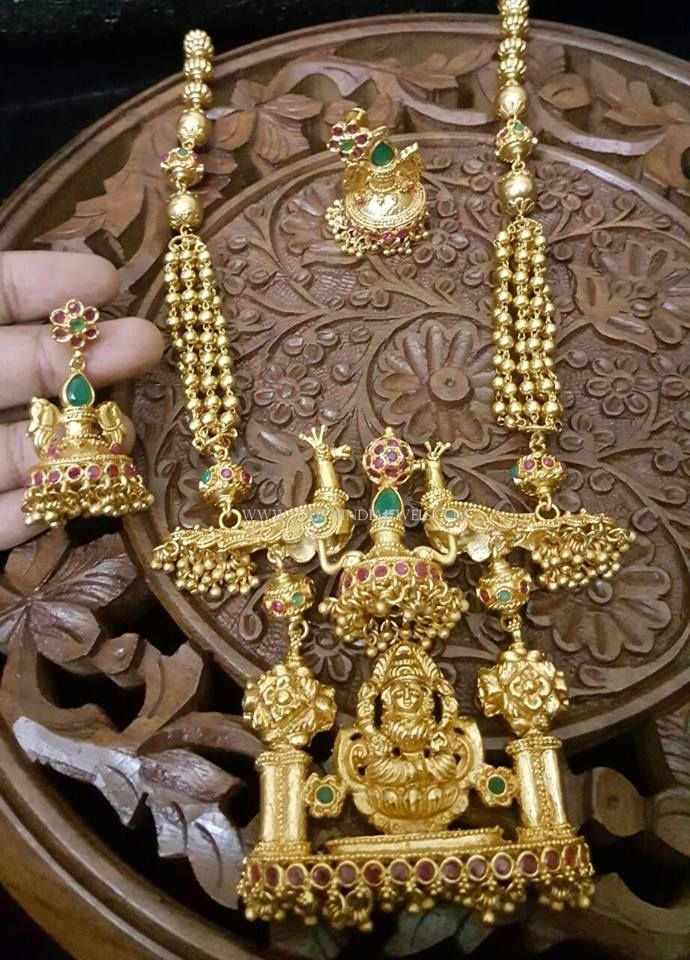 Gold Plated Antique Long Necklace Designs with Price Details. & Gold Plated Antique Long Necklace With Price | Necklace designs ...