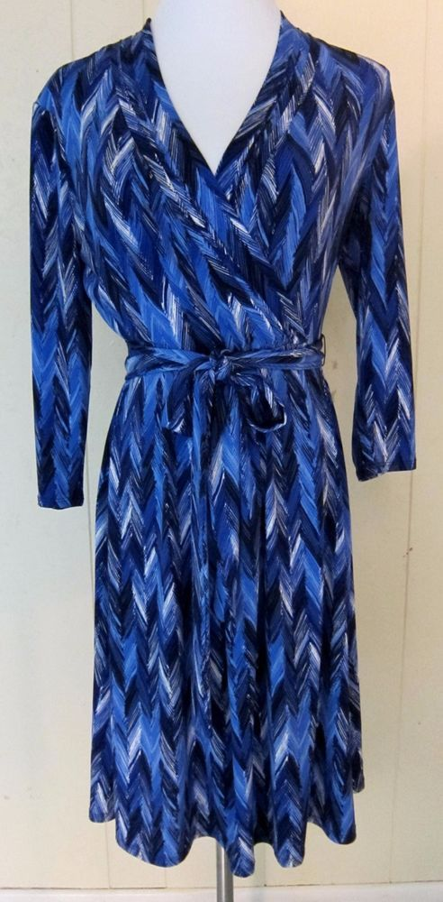 Liz Claiborne Blue Chevron Pattern Stretch Dress 3/4 Sleeve S #LizClaiborne #Stretch