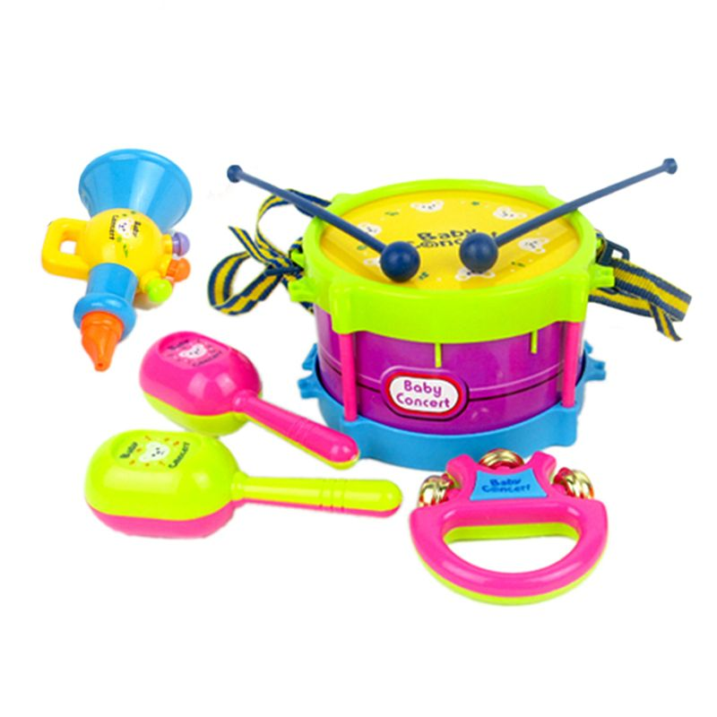 5pcs Set Toy Musical Instrument Kids Music Toys Roll Drum Musical