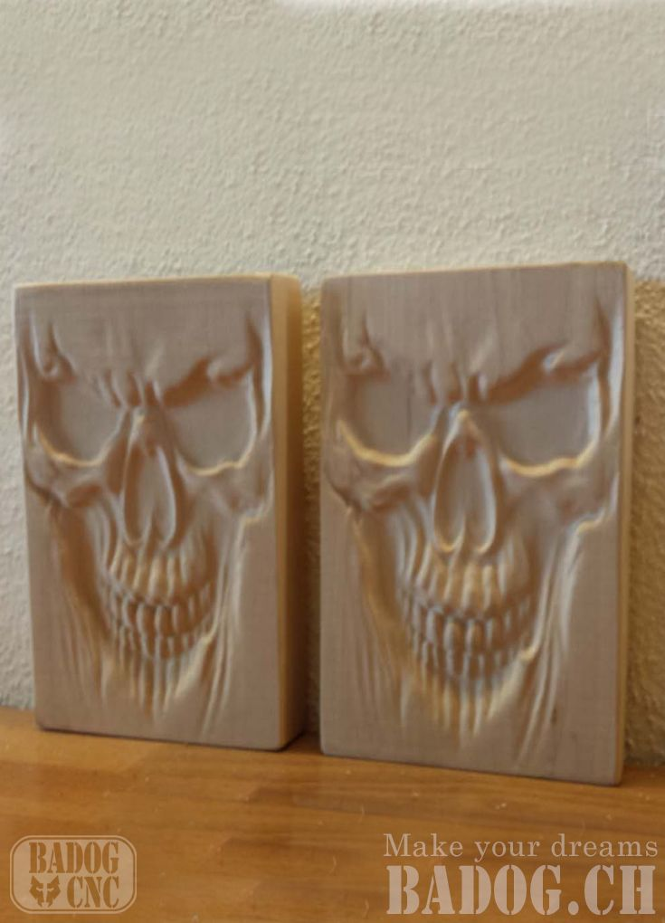 Another skull wood carving done with our badog cnc