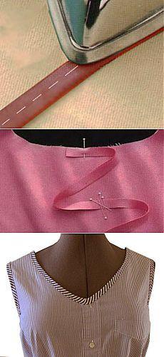 Как пришить косую бейку   Обработка горловины, проймы косой бейкой