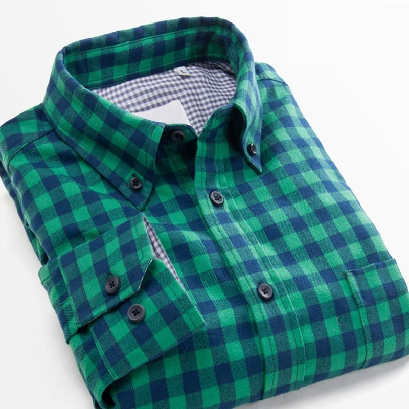 Free shipping Hot Grinding flannel plaid shirt Men's Casual Slim fit Stylish Dress Shirts Long Sleeve Shirts for Men S-XXXXL