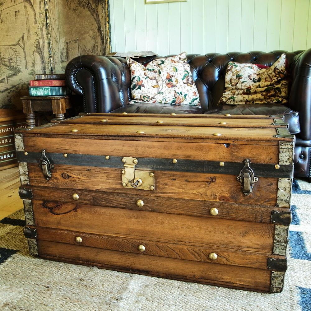 details about vintage steamer trunk pine chest victorian travel rh pinterest com