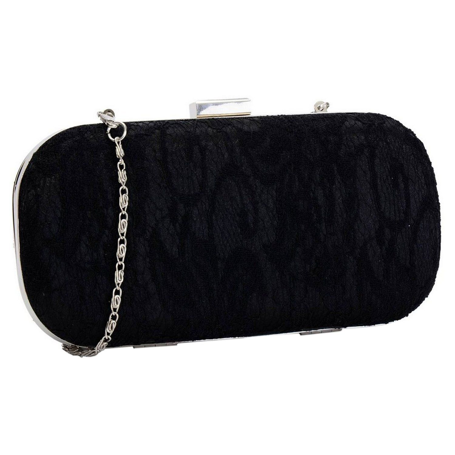 3ed0a5633a Lace Covered Hard Case Box Style Clutch Evening Bag With A Long Chain  (Red)  Amazon.co.uk  Shoes   Bags