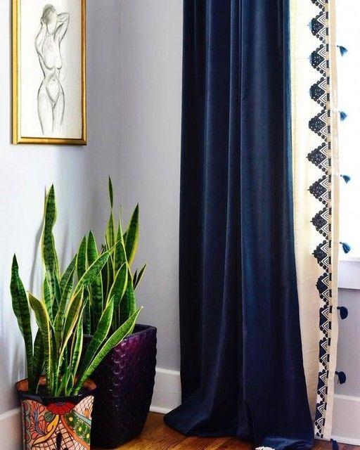 Worn Velvet Curtain Regal Blue Dark