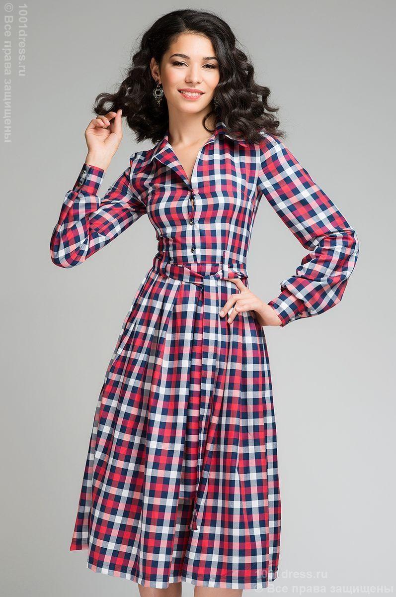 57a6f07c883dda5 Платье длины миди в красно-белую клетку с верхом-рубашкой и длинным рукавом  ,