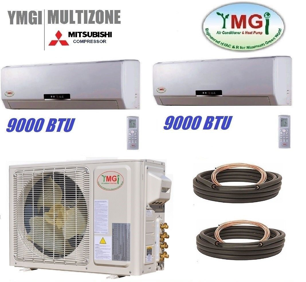 YMGI 18000 Btu 22 SEER 9K+9K Dual Zone Mini Split Heat