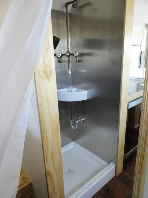 Steel lined shower and sink combo in  tiny house bathroom by pamela fitzgerald also best home ideas images log homes sweet rh pinterest