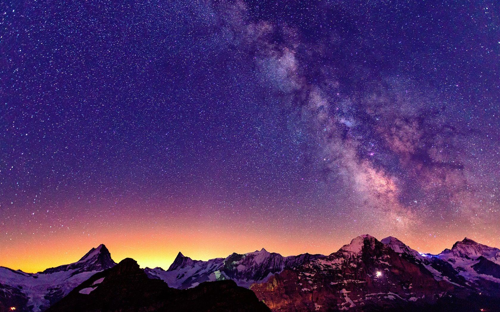 Switzerland The Alps Beautiful Night Sky Stars Wallpaper 1680x1050 Resolution Wallpaper Download Best Night Sky Wallpaper Sunset Mountain Sky Wallpaper