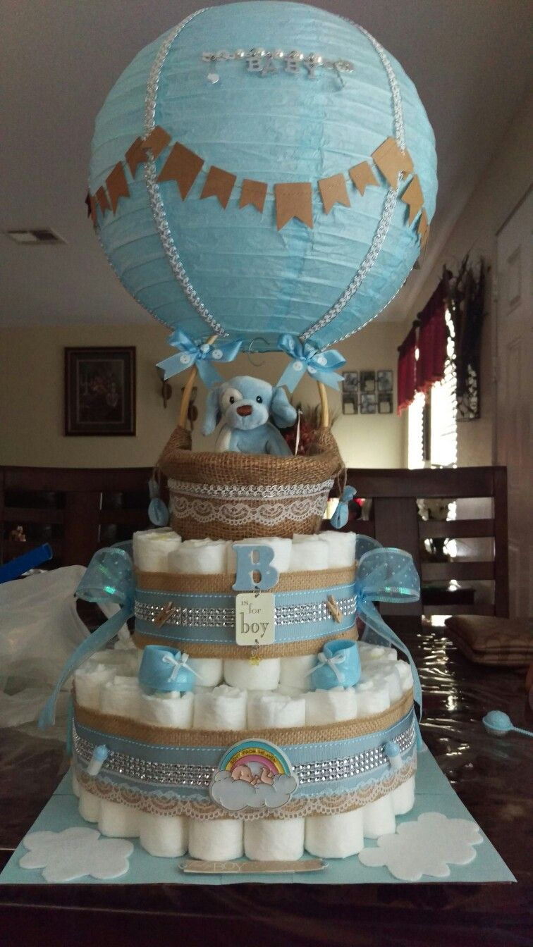 Superior Hot Air Balloon Baby Shower Cake Part - 14: Baby Shower Boy Hot Air Balloon Diaper Cake | Baby Shower | Pinterest | Baby  Shower Boys, Hot Air Balloons And Air Balloon
