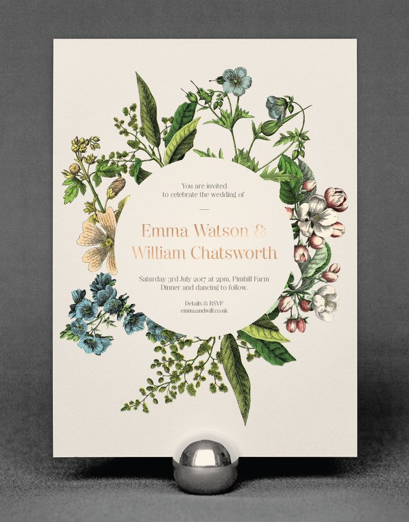 Wildflower Wedding Invitation Foil Pressed in Rose