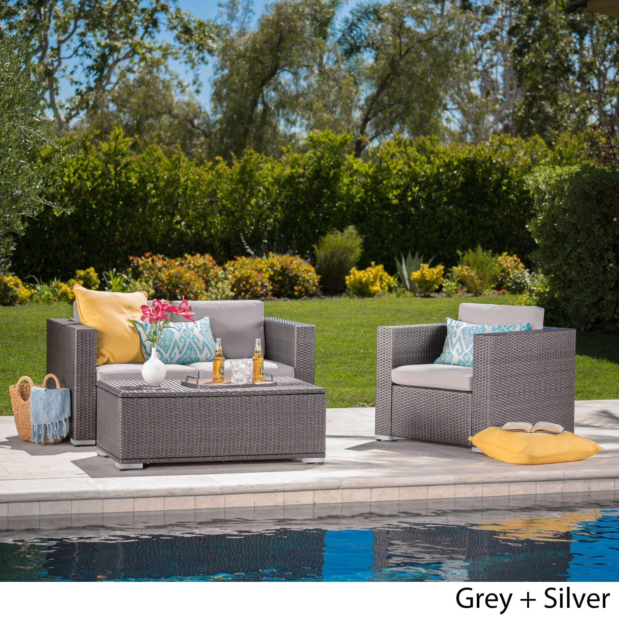 murano outdoor 3 piece wicker chat set with cushions and storage by rh pinterest com