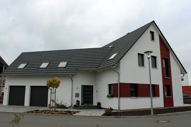 Einfamilienhaus Modern Holzhaus Holzfassade Satteldach Garage Mit