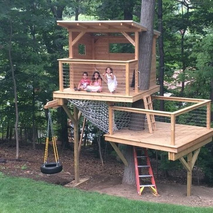 34 Elegant Tree House Ideas For Backyard #houseideas