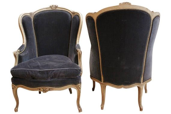 comfy pair of antique french louis xv bergere arm chairs navy rh pinterest co uk