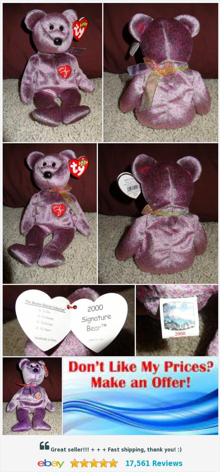 TY Beanie Baby 2000 Signature Bear Purple PE Pellets 2000 Mint - TH  823b25b93a2