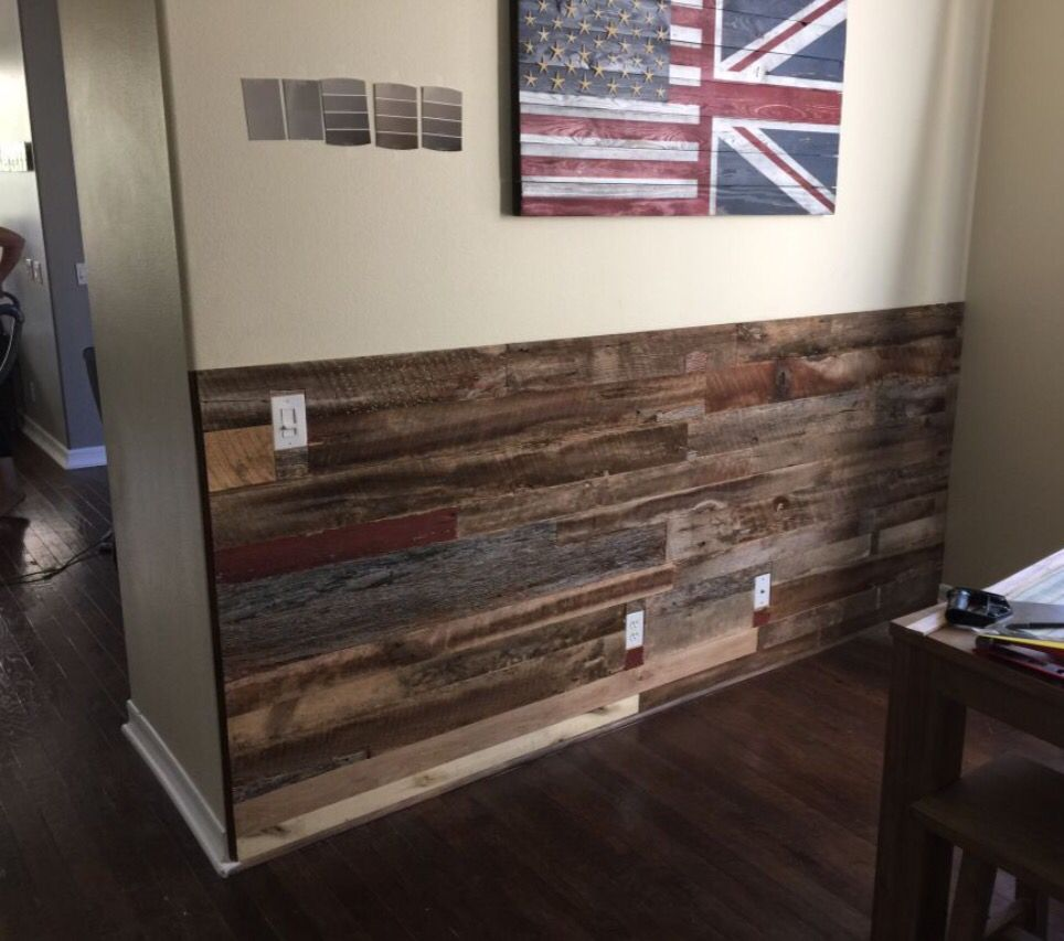Half Wall Reclaimed Wood Panels