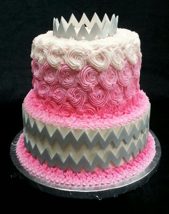 Pink roses and silver chevron baby shower cake Birthday Girl by