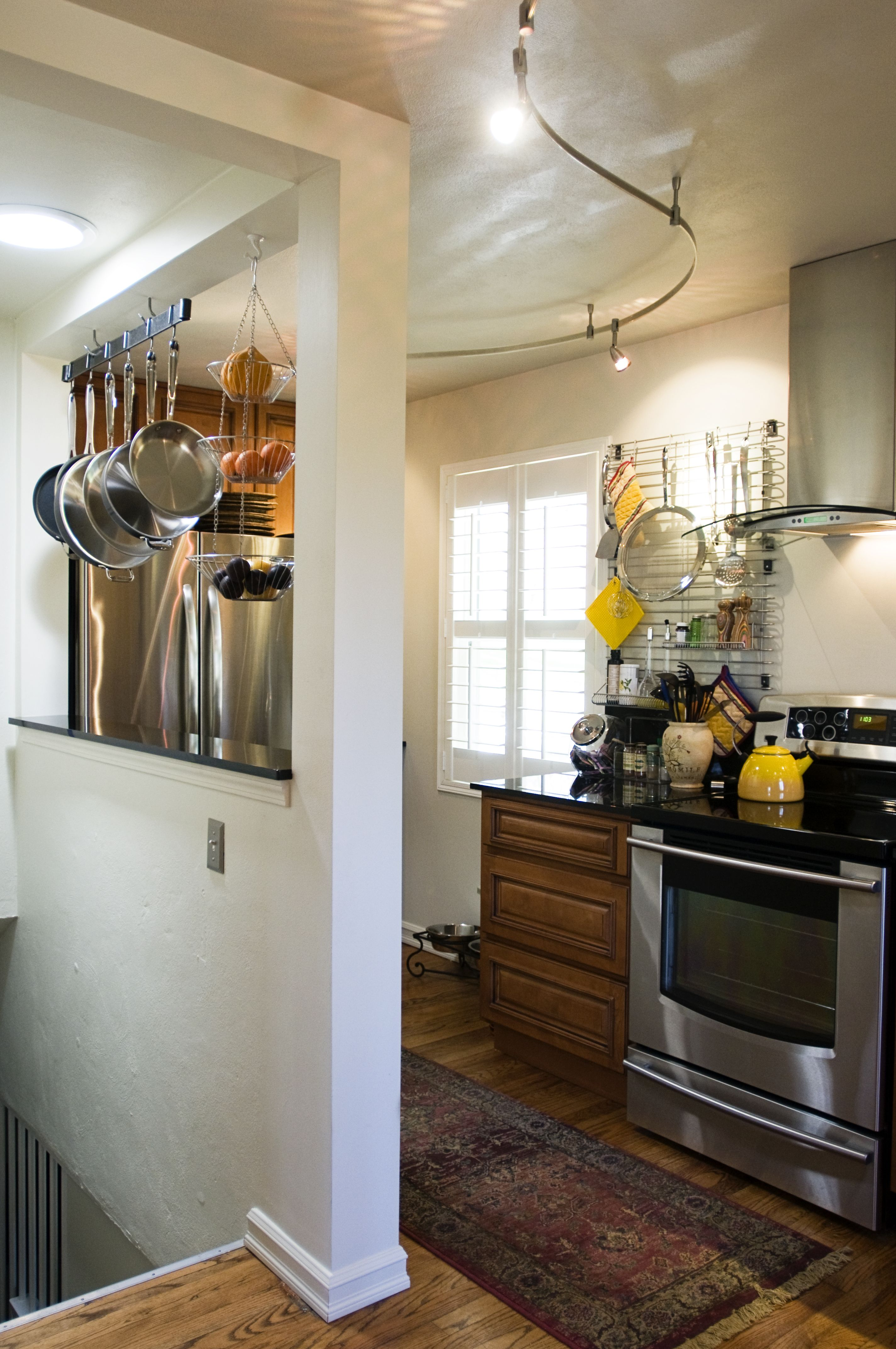 kitchen remodel removed door and half wall to create illusion of rh br pinterest com