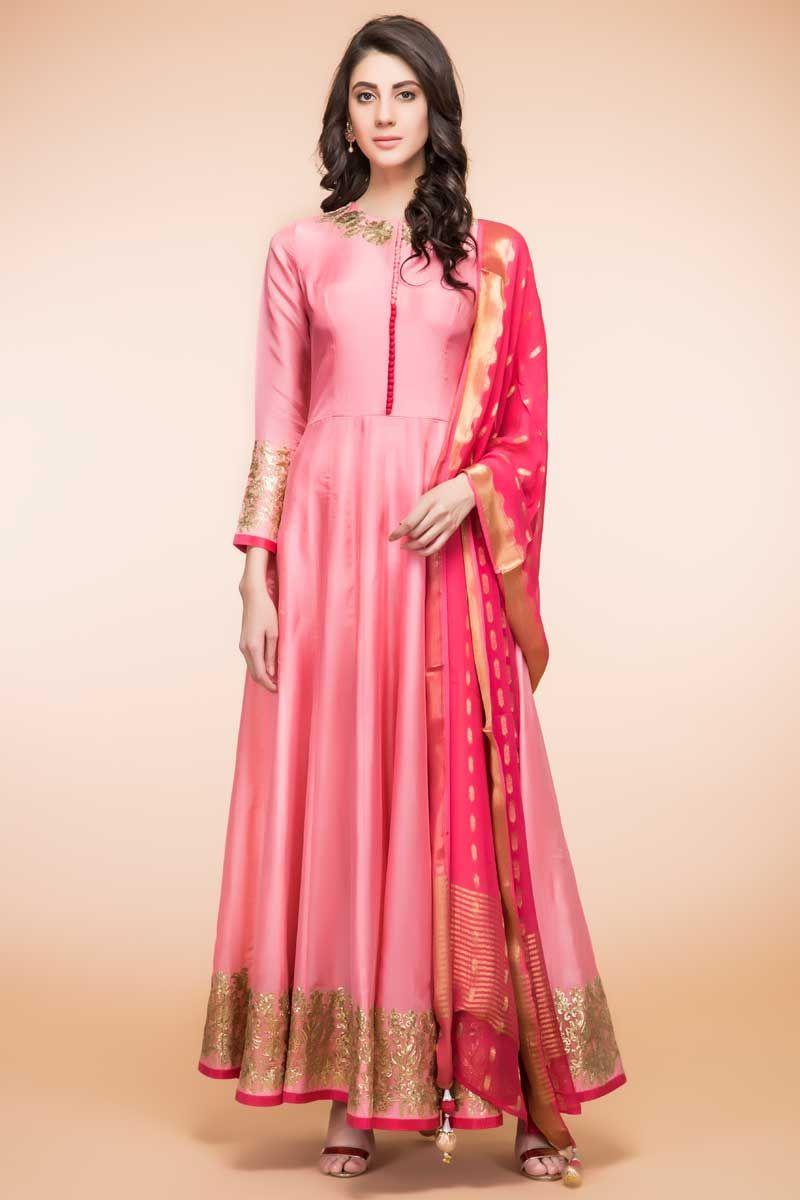 f3a5b9279d Latest New Design 2017 Pink Silk Anarkali Churidar Suit With Fancy Zari  Dupatta Online (Design