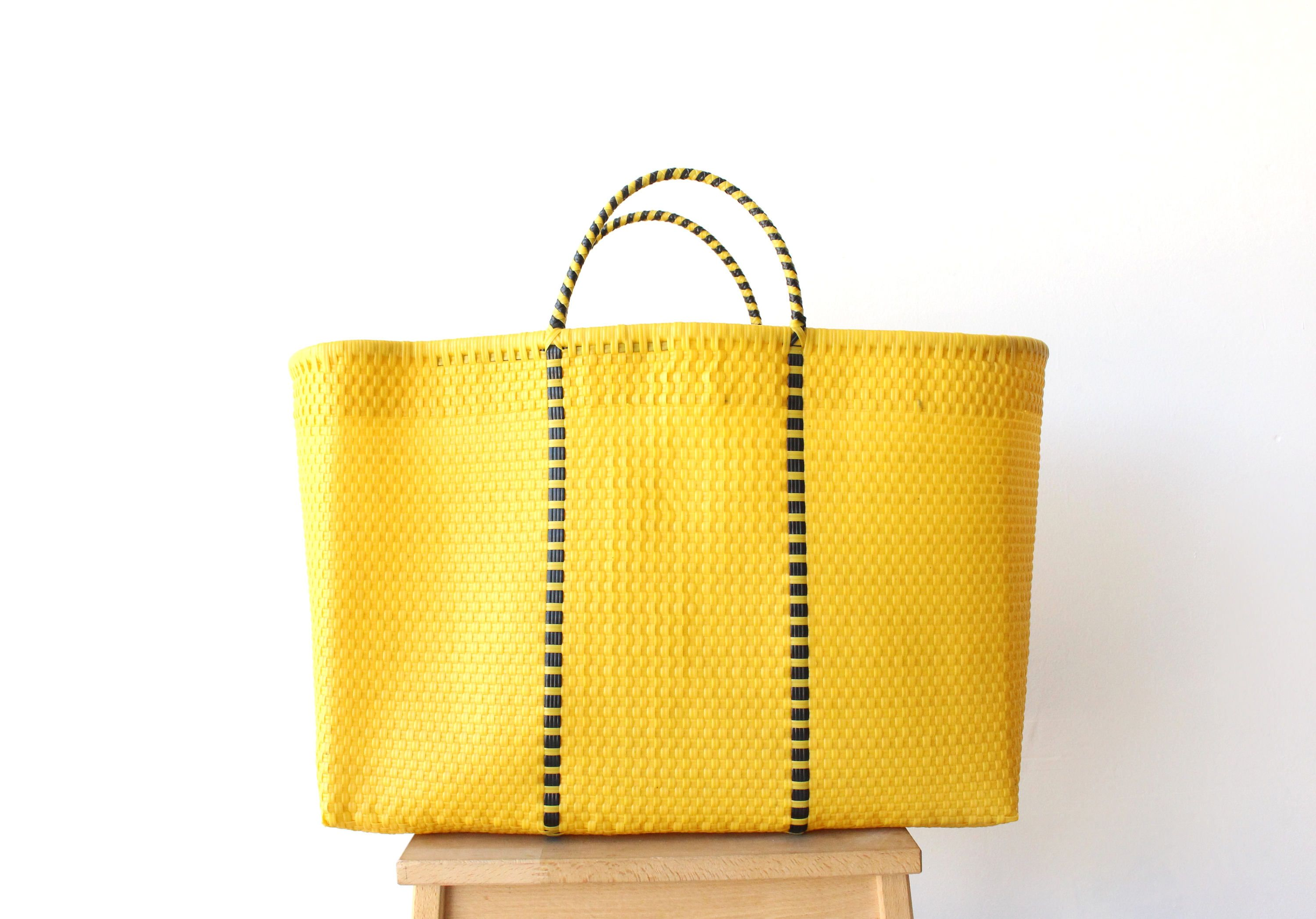 Yellow Black Mexico Beach Bag Handwoven Mexican Tote
