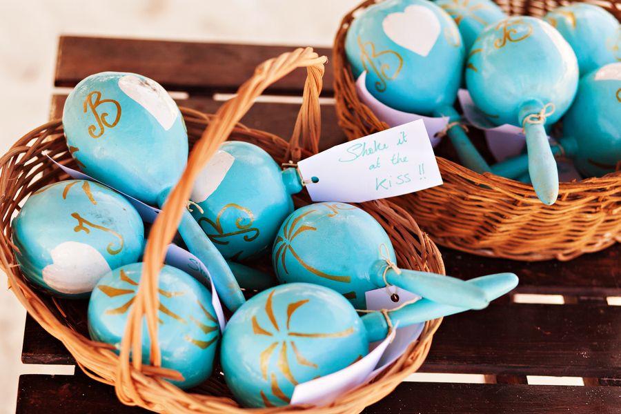 ideas for beach wedding party favors%0A Mexico destination wedding  Tulum weddings  personalized maracas wedding  favors