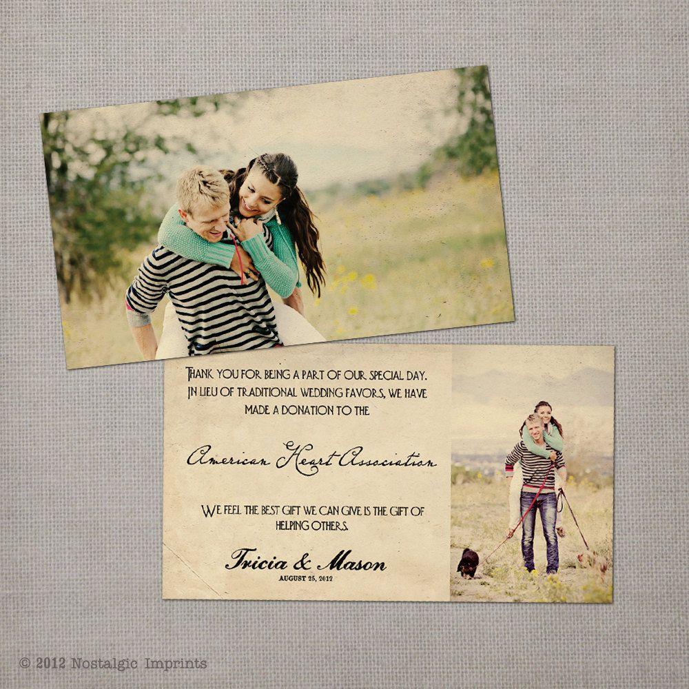 Compassion Wedding Favor Donation Card via Etsy Wedding