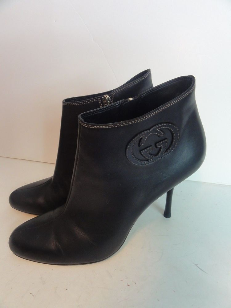 13601a44ba4 Gucci Shoes Ankle boots Black leather size 10 interlocking logo ...