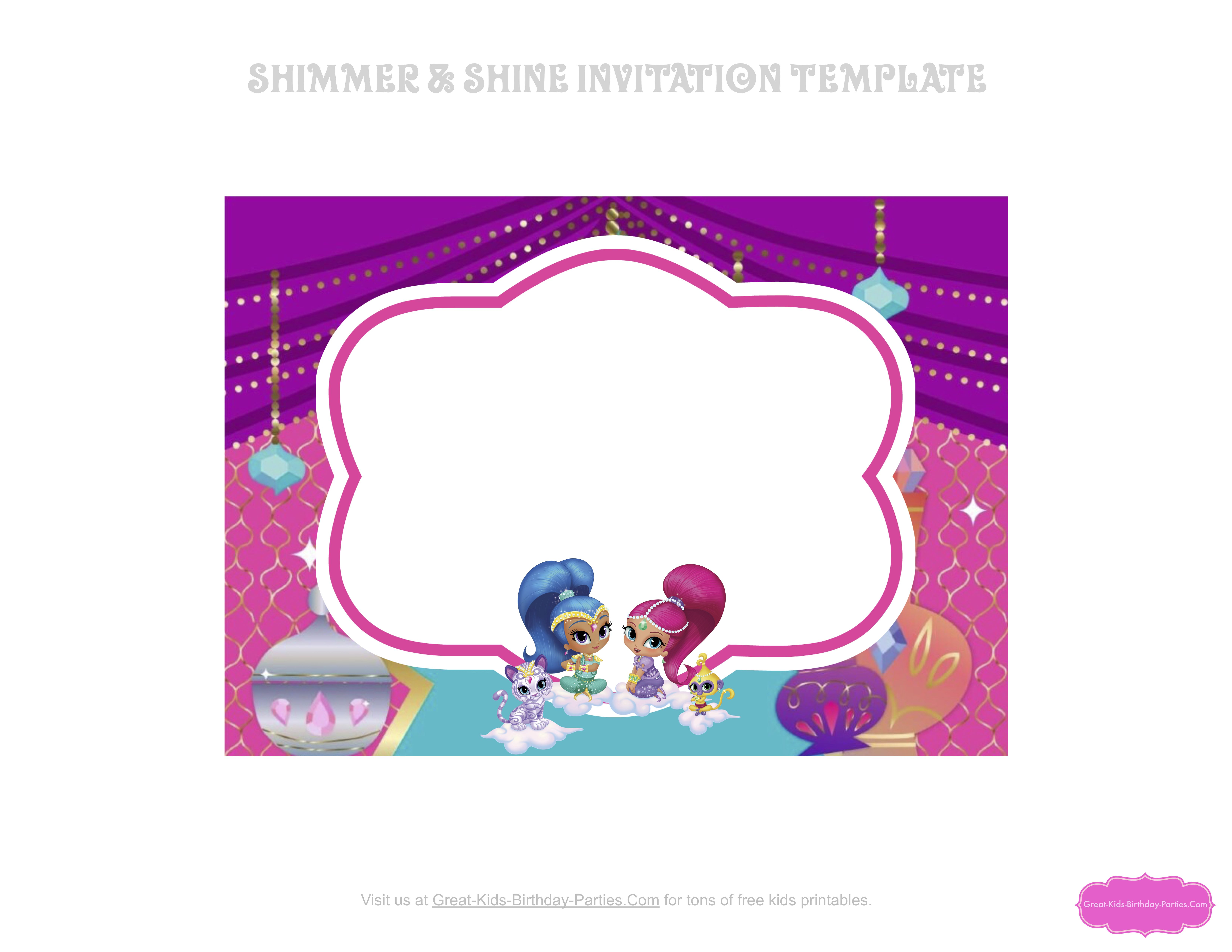 Shimmer And Shine Invitation Template2 Jpg 6600 5100 Shimmer N Shine Shimmer And Shine Characters Shimmer