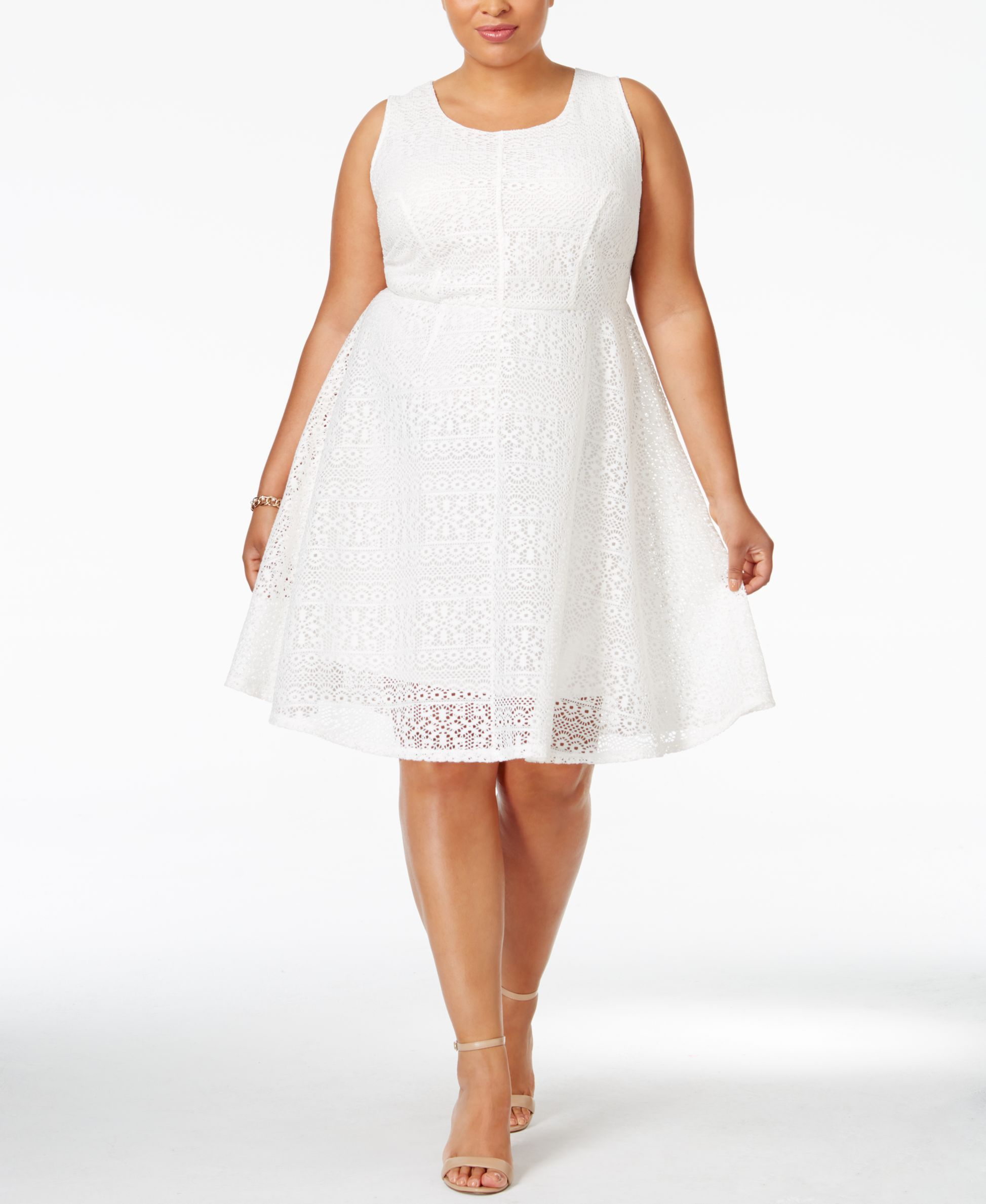 Ny Collection Plus Size Sleeveless Lace Fit Flare Dress Dresses Plus Sizes Macy S Fit Flare Dress Dresses Fit Flare [ 2378 x 1947 Pixel ]