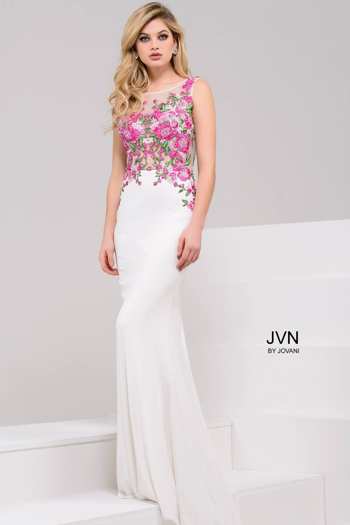 Photo of JVN by Jovani 50045 Floral Applique Open Back Dress
