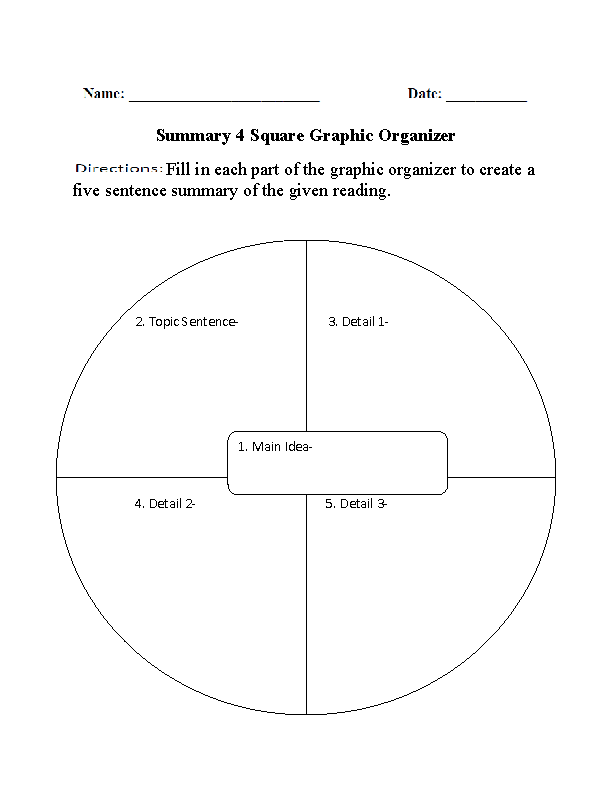 Graphic Organizers for Reading Comprehension | Summary 4 Square ...