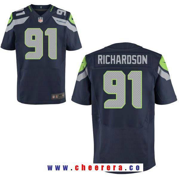 Men's Seattle Seahawks #91 Sheldon Richardson Navy Blue Team Color Stitched NFL  Nike Elite Jersey