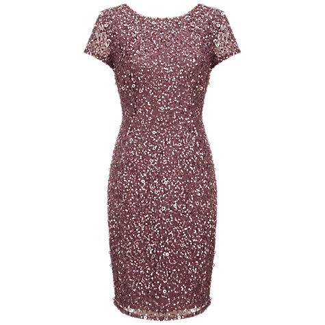 Buy Adrianna Papell Beaded Cap Sleeve Dress, Dusty Plum Online at johnlewis.com