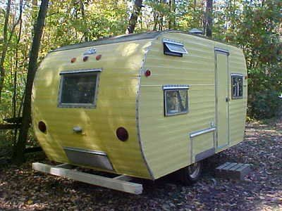 VINTAGE 1961 FAN CANNED HAM TRAVEL TRAILER CAMPER=BIRCH