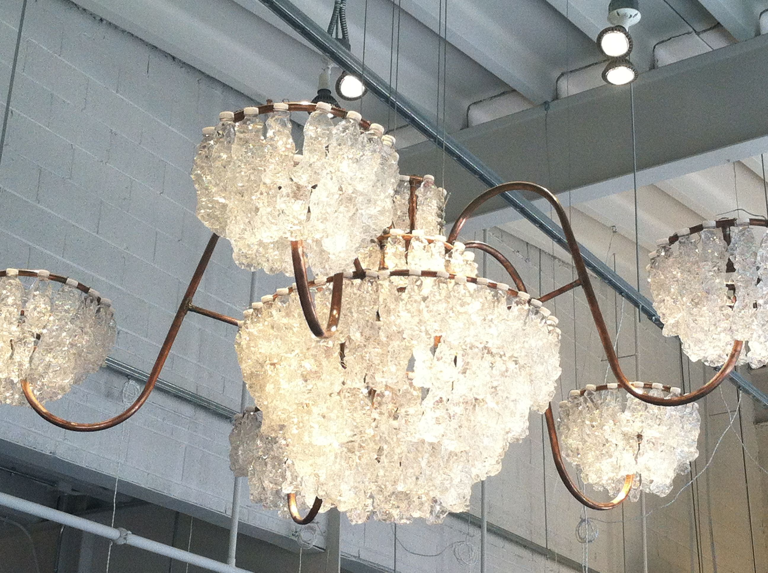 Recycled plastic water bottle chandelier in Union
