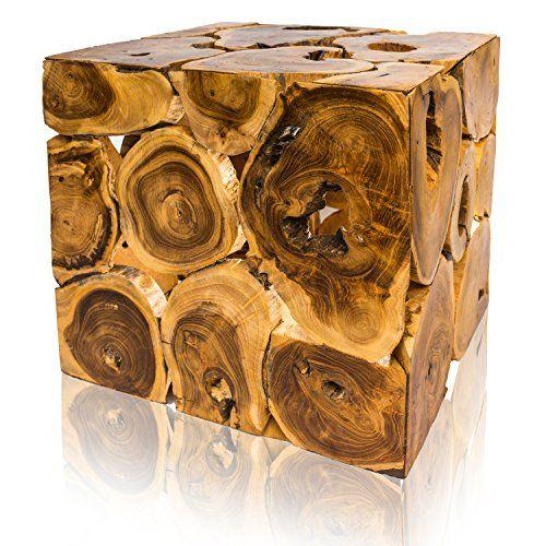 Quadratischer Natur-Couchtisch aus hochwertigem Teak-Holz - natur deko wohnzimmer