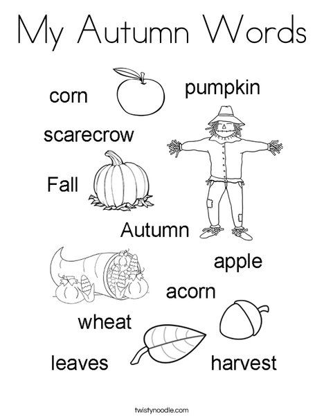 My Autumn Words Coloring Page Twisty Noodle Coloring Pages Fall Preschool Mini Books