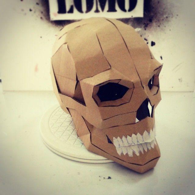 Express Halloween Diy Cardboard Skull Display Props Pdf Template Cardboard Mask Diy Cardboard Skull Template