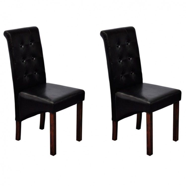 details about tufted dining table chairs set of 2 black faux leather rh pinterest com