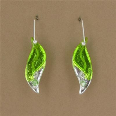 Green & Clear Dichroic Glass 2-Leaf Dangle Earrings by Deveer Designs $45.00
