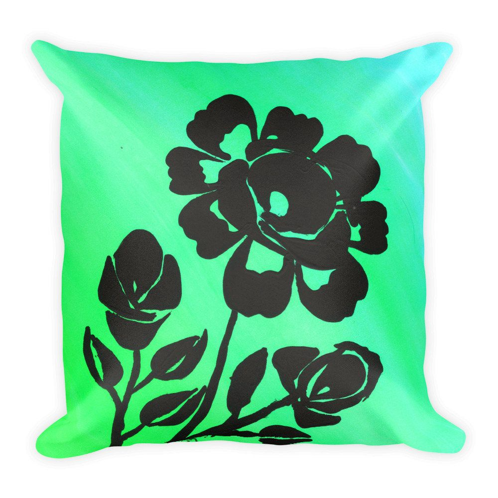 Rose pillow square pillow green decor green accent pillow green
