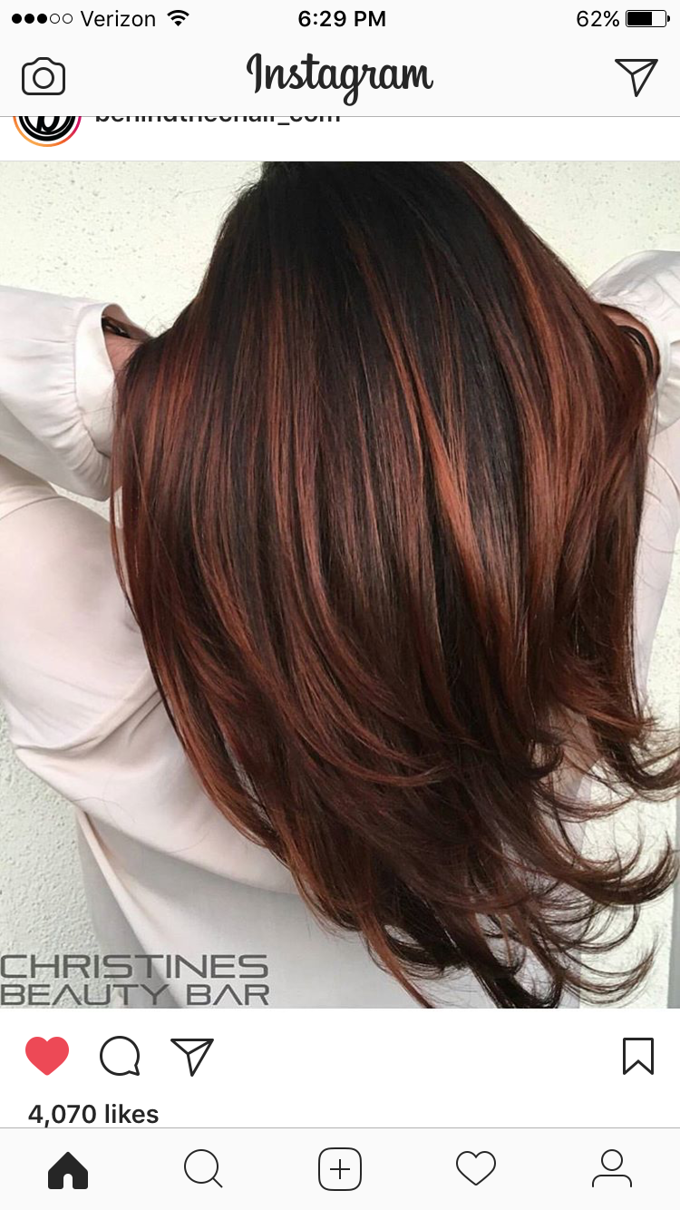 Chocolate Copper Highlights Dark Auburn Hair Color Hair Color Auburn Brunette Hair Color