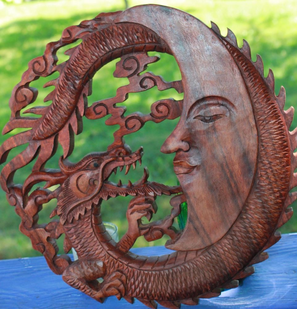 Dragon u crescent moon wall art plaque panel hand carved balinese