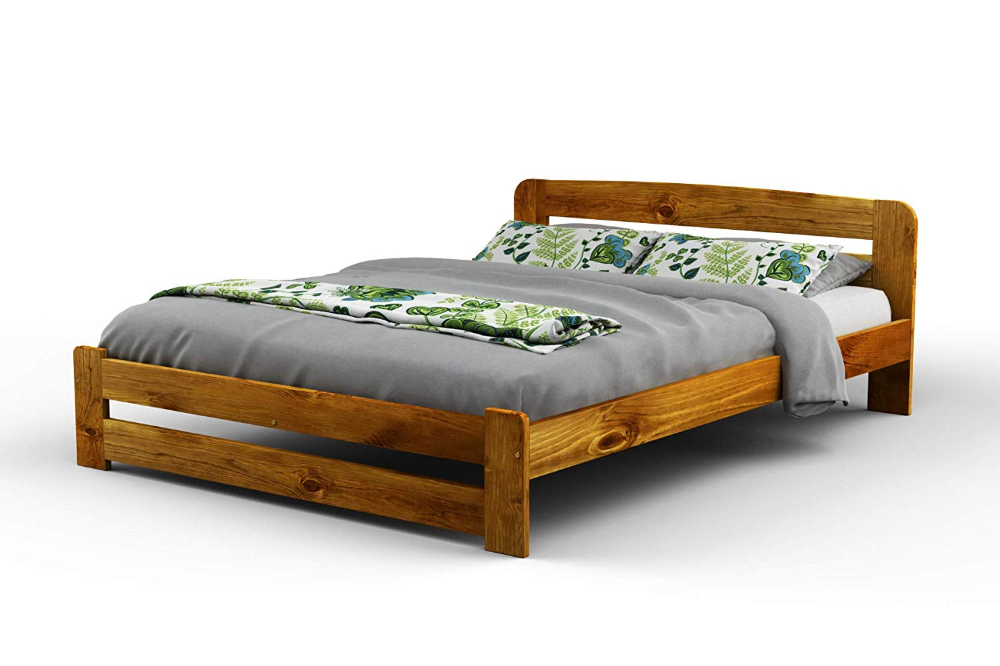 Double Solid Wooden Pine Bedframe F1 With Slats 4ft6in Oak