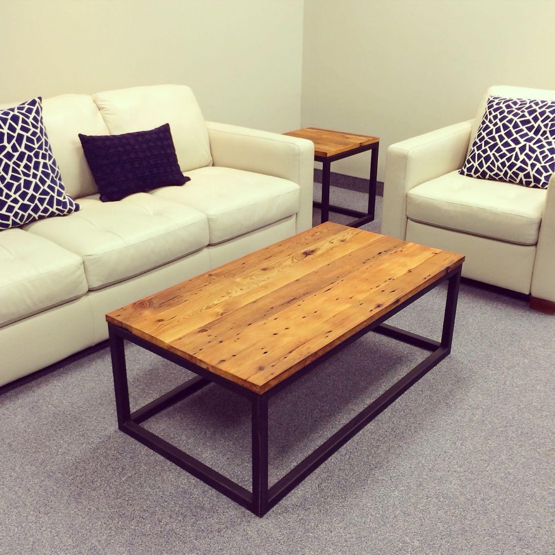 Reclaimed barn wood and steel coffee table
