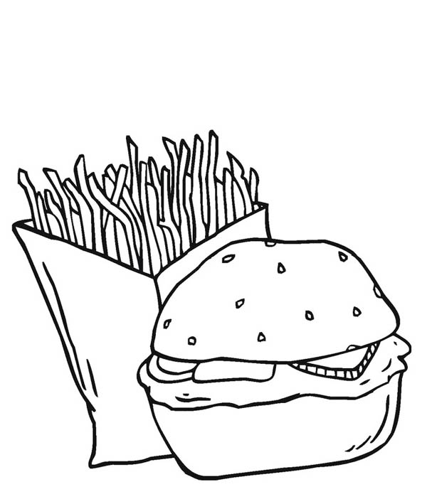 Dynamic Duo Fries And Burger Junk Food Coloring Page Download Print Online Coloring Pages For Free Color Food Coloring Pages Food Coloring Coloring Pages