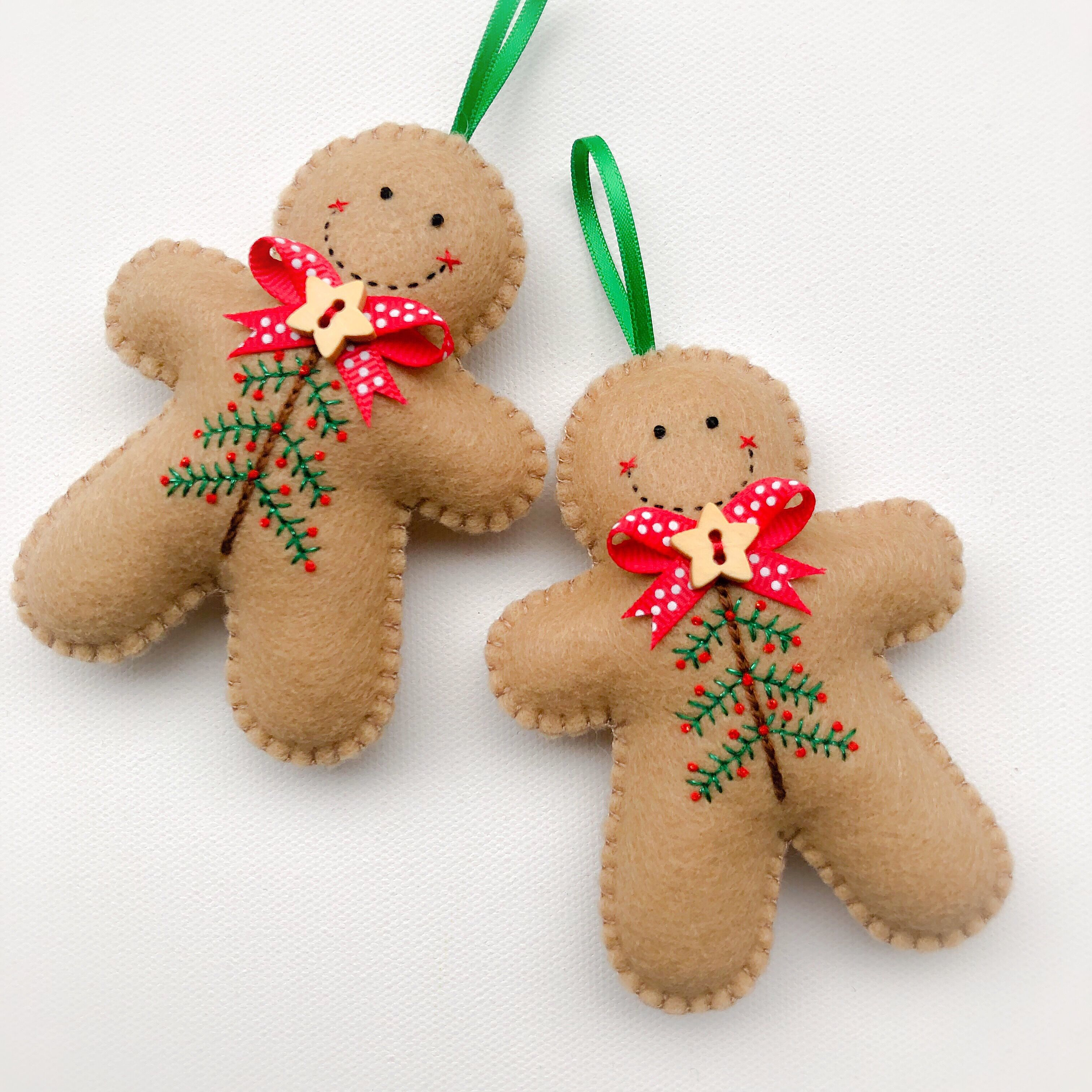 Embroidered Felt Gingerbread Man Christmas Decoration Felt