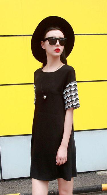 Fashiontroy Unique fashion short sleeves crew neck blue black basic organza blend mini dress
