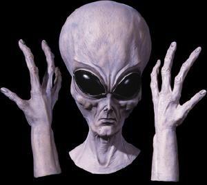 alien uo set oversize space alien mask and alien hands august 2012 semi annual halloween mask sale - Alien Halloween Masks